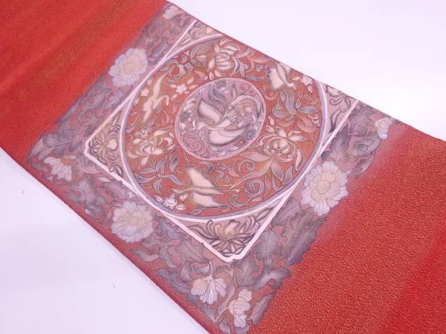 相良刺繍鳳凰に花鳥模様袋帯【リサイクル】【中古】【着】 宗sou