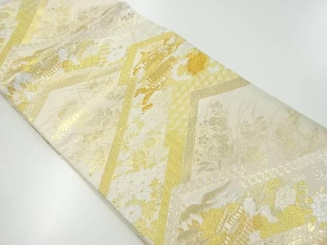京風景模様織出全通袋帯【リサイクル】【中古】【着】 宗sou