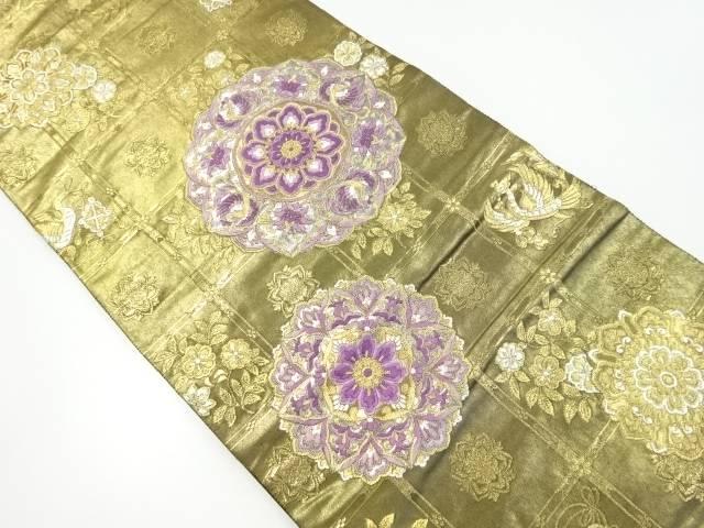 じゅらく製 帝王紫聖麗鳳舞格子文織り出し袋帯【リサイクル】【中古】【着】 宗sou