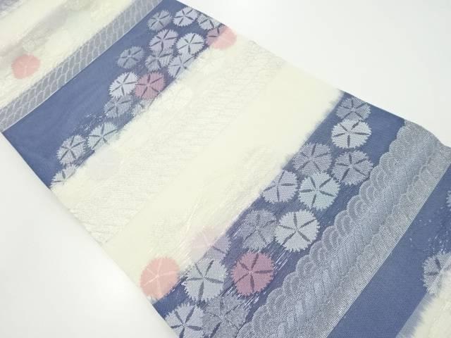 紗横段に撫子模様織り出し袋帯【リサイクル】【中古】【着】 宗sou