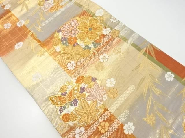 本金花丸紋に蝶模様織り出し袋帯【リサイクル】【中古】【着】 宗sou
