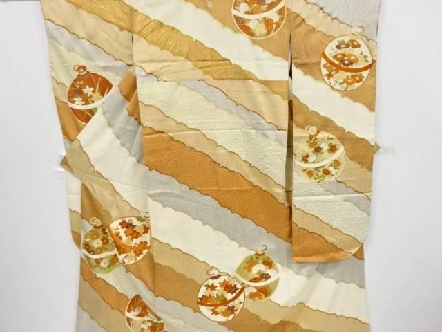 鈴に梅・菊・菖蒲模様刺繍一つ紋振袖(重ね衿付き) 袋帯セット(きしや)【リサイクル】【中古】【着】 宗sou