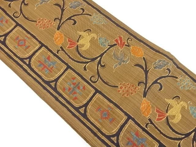 葡萄唐草に鳥模様織り出し袋帯【リサイクル】【中古】【着】 宗sou