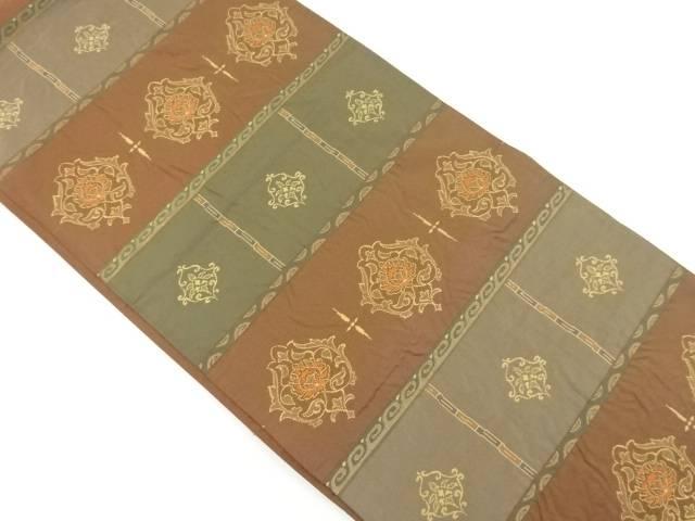 横段に華紋織り出し袋帯【リサイクル】【中古】【着】 宗sou
