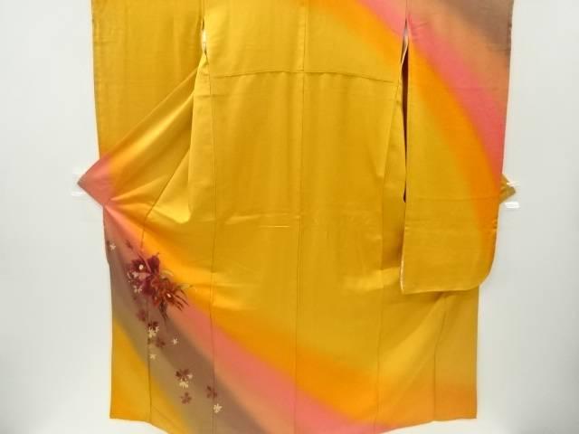 宗sou 金通し蘭模様振袖 袋帯セット【リサイクル】【中古】【着】
