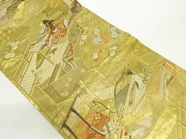 本金箔地紙に十二単・屋敷模様織り出し袋帯【リサイクル】【中古】【着】 宗sou