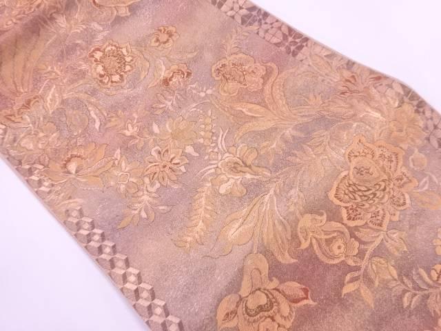 未使用品 司弓織草花模様織出しぼかし袋帯【リサイクル】【着】 宗sou