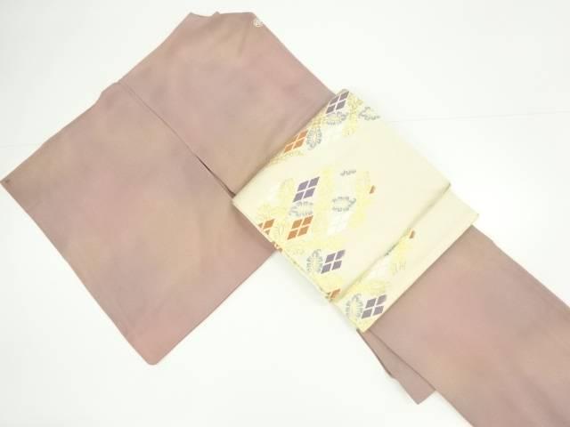 暈し一つ紋色無地着物・全通袋帯セット【リサイクル】【中古】【着】 宗sou