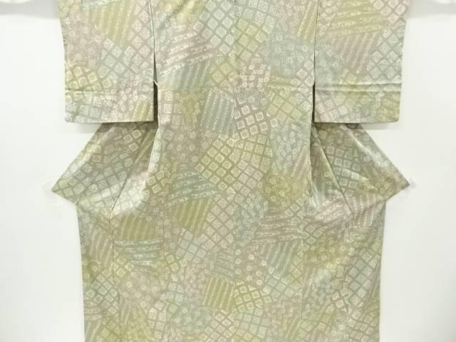 石畳に花唐草模様小紋着物【リサイクル】【中古】【着】 宗sou