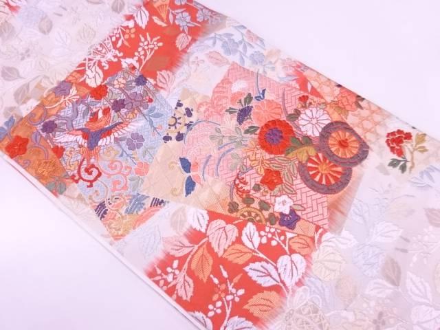 唐織色紙に花車・花鳥模様織出し袋帯【リサイクル】【中古】【着】 宗sou