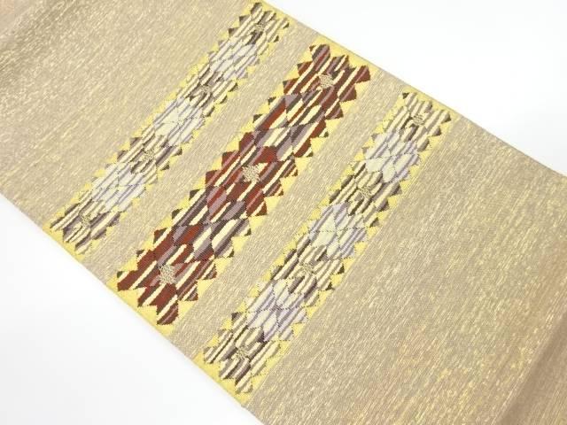 未使用品 金糸本綴れ横段に抽象花模様織り出し袋帯【リサイクル】【着】 宗sou