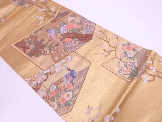 屏風に孔雀・松・牡丹模様織出し袋帯【リサイクル】【中古】【着】 宗sou