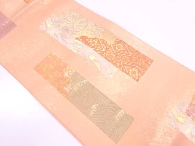 短冊に唐花・蝶模様織出し袋帯【リサイクル】【中古】【着】 宗sou