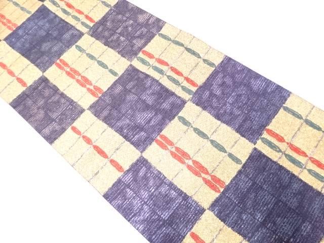 市松に抽象模様織出し袋帯【リサイクル】【中古】【着】 宗sou