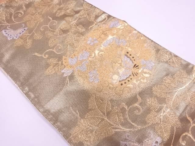 蝶に花唐草模様織出し袋帯【リサイクル】【中古】【着】 宗sou