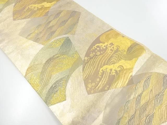 本金箔地紙に波模様織出袋帯【リサイクル】【中古】【着】 宗sou