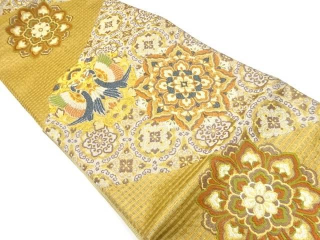 金銀糸向かい鳥に華紋織り出し袋帯【リサイクル】【中古】【着】 宗sou