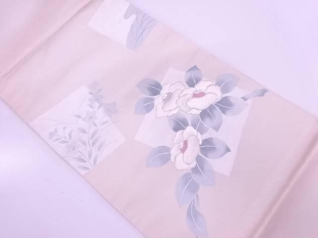未使用品 色紙に椿模様刺繍袋帯【リサイクル】【着】 宗sou