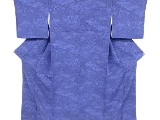 縮緬地本藍型染波に花鳥・古典柄小紋着物【リサイクル】【中古】【着】 宗sou