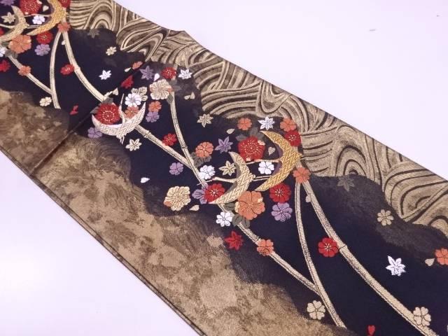 鶴に草花模様織出し袋帯【リサイクル】【中古】【着】 宗sou