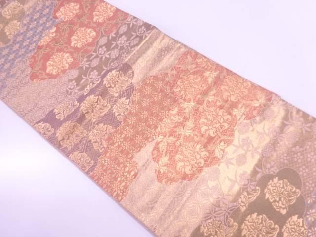 雲取りに牡丹唐草・古典柄模様織出し袋帯【リサイクル】【中古】【着】 宗sou
