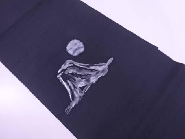 手織り紬遠山に顔模様開き名古屋帯(額縁仕立て)【リサイクル】【中古】【着】 宗sou