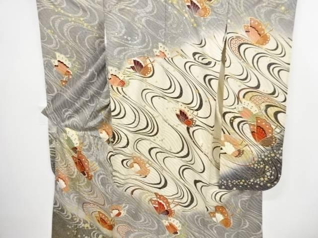 金彩蝶・流水模様刺繍振袖・袋帯セット【リサイクル】【中古】【着】 宗sou