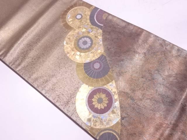 堀省平作 引箔番傘に花模様織出し袋帯【リサイクル】【中古】【着】 宗sou