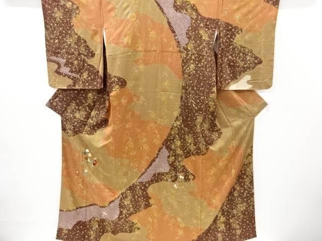 金彩絞り椿に菊模様刺繍訪問着【リサイクル】【中古】【着】 宗sou