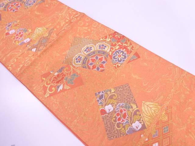 横段に花色紙模様織出し袋帯【リサイクル】【中古】【着】 宗sou