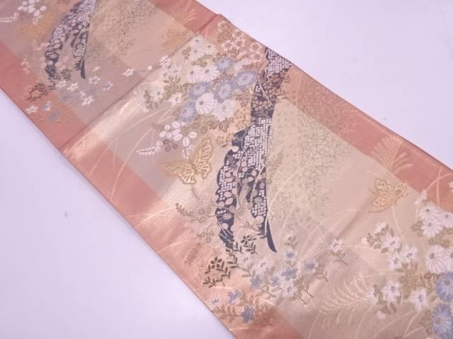 未使用品 雪芝に蝶・秋草模様織出し袋帯【リサイクル】【着】 宗sou