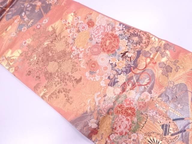 本金箔流水に花車模様織出し袋帯【リサイクル】【中古】【着】 宗sou