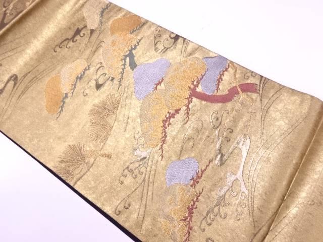 本金青銅箔荒波に松・枝梅模様織出し袋帯【リサイクル】【中古】【着】 宗sou
