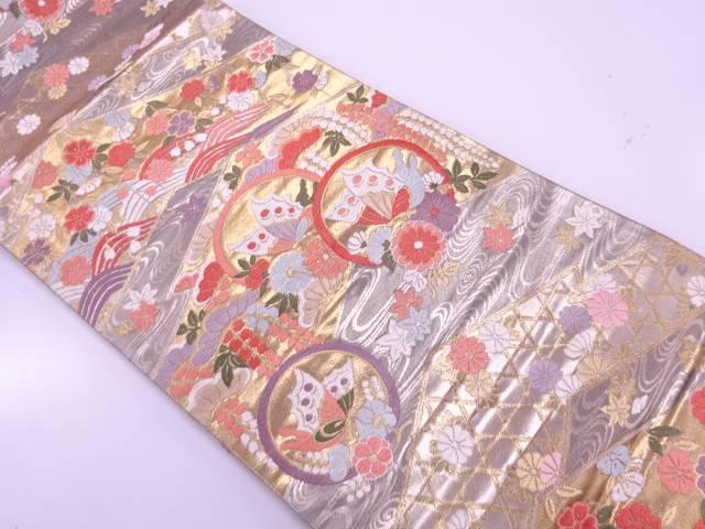 蝶に桜・楓模様織出し袋帯【リサイクル】【中古】【着】 宗sou