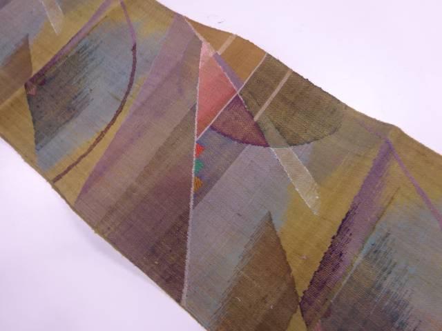 未使用品 渡文製 手織真綿紬抽象模様織出し名古屋帯【リサイクル】【着】 宗sou