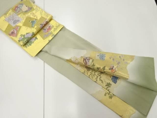 寿光織色紙に時代人物・牡丹模様織り出し一つ紋色留袖 袋帯セット【リサイクル】【中古】【着】 宗sou