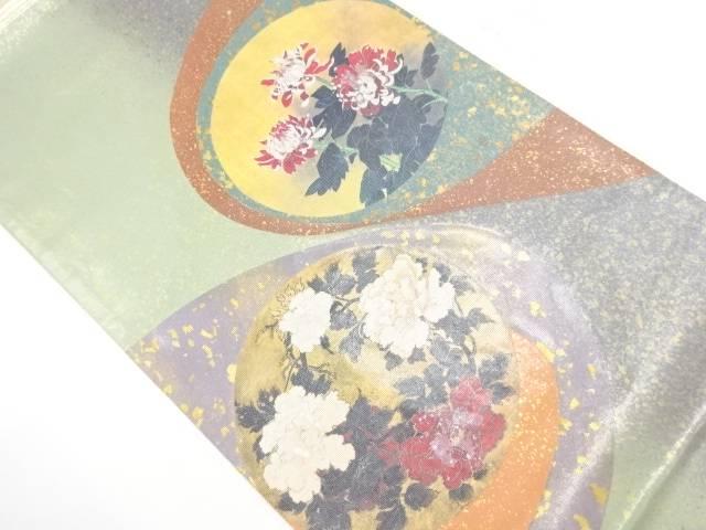 引箔金彩螺鈿菊牡丹模様袋帯【リサイクル】【中古】【着】 宗sou