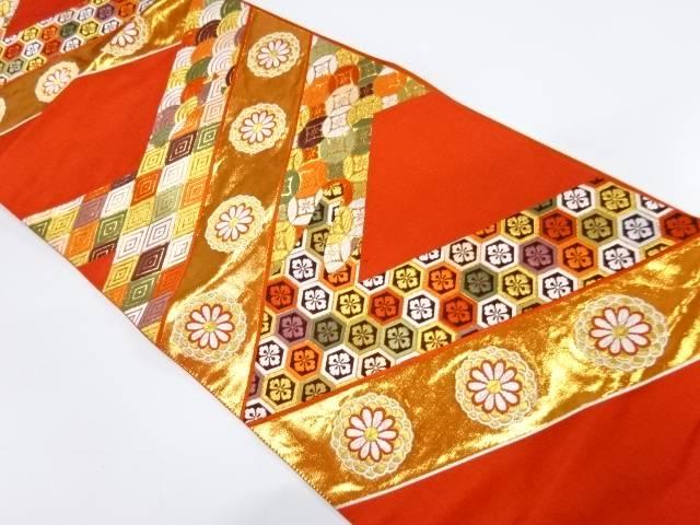 花に古典柄模様織出し袋帯【リサイクル】【中古】【着】 宗sou