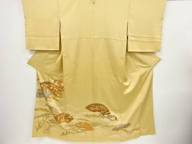 金彩地紙に菊桔梗荒波模様刺繍一つ紋訪問着【リサイクル】【中古】【着】 宗sou