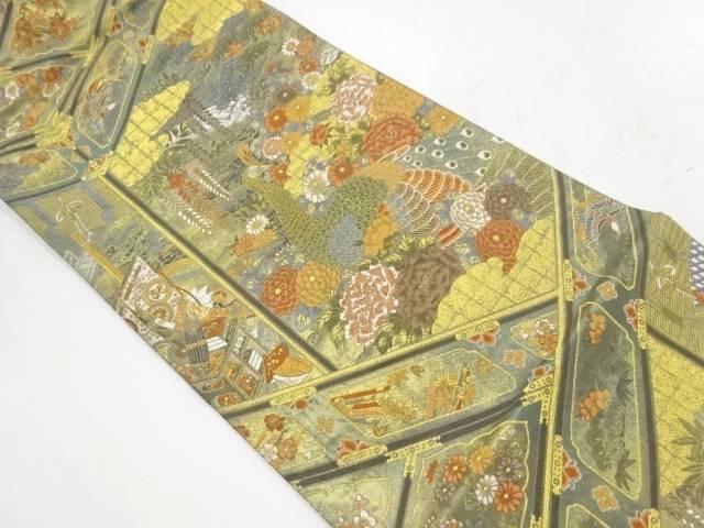未使用品 孔雀に松竹梅模様織出し袋帯【リサイクル】【着】 宗sou