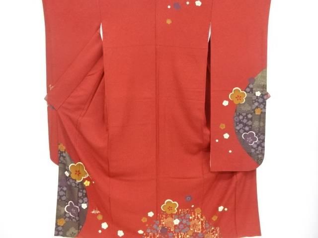 金彩梅に簪・折鶴模様振袖 袋帯・帯締めセット(重ね衿付)【リサイクル】【中古】【着】 宗sou