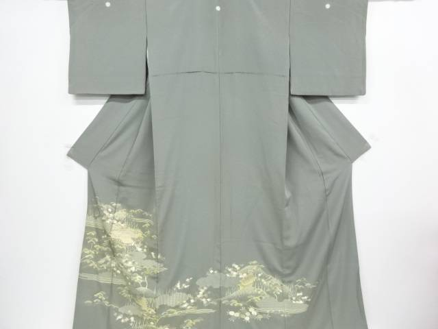 金彩手描き友禅寺院に草花模様三つ紋色留袖(比翼付)【リサイクル】【中古】【着】 宗sou