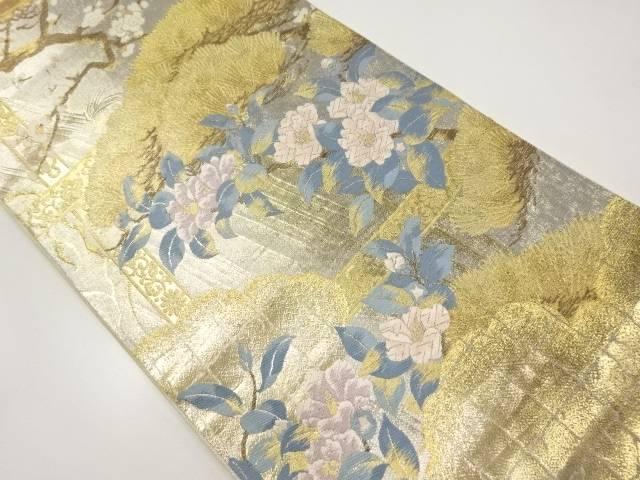 じゅらく製 本金四季花鳥園織り出し袋帯【リサイクル】【中古】【着】 宗sou