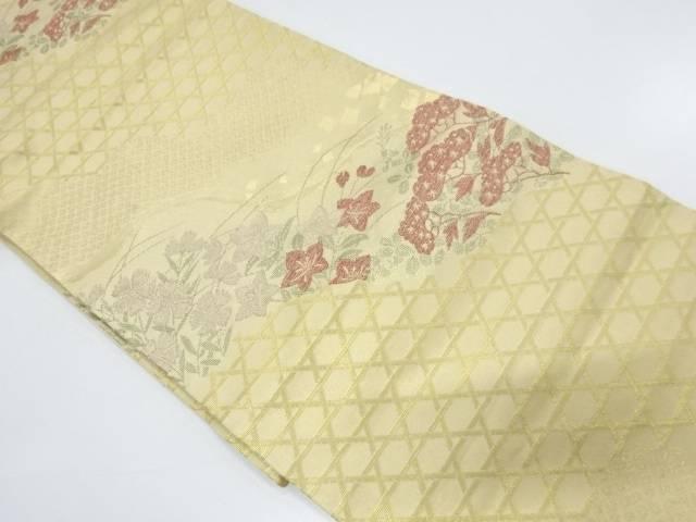 川島織物製 道長取に秋草模様織出し袋帯【リサイクル】【中古】【着】 宗sou