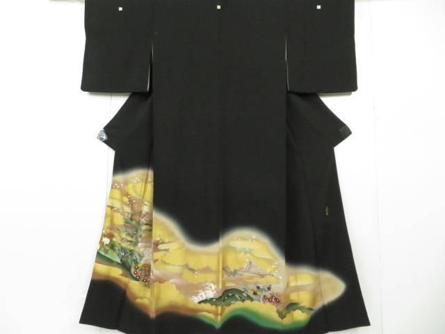 黒留袖 落款入 作家物 霞と雲に梅・菊・牡丹文 着物【リサイクル】【中古】【着】 宗sou