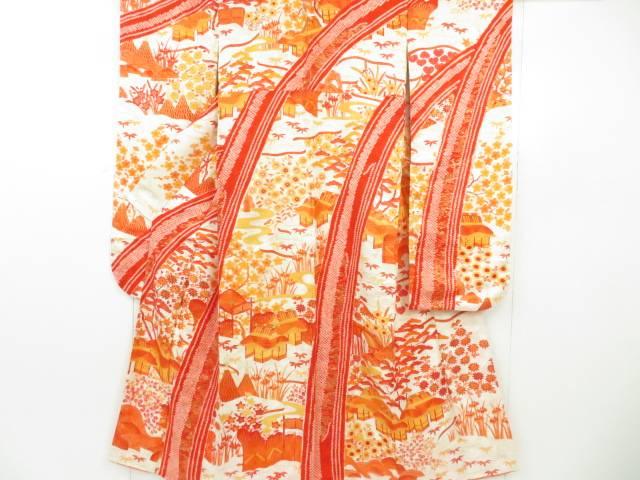 振袖 金駒刺繍 絞り 家屋水辺風景文 着物【リサイクル】【中古】【着】 宗sou