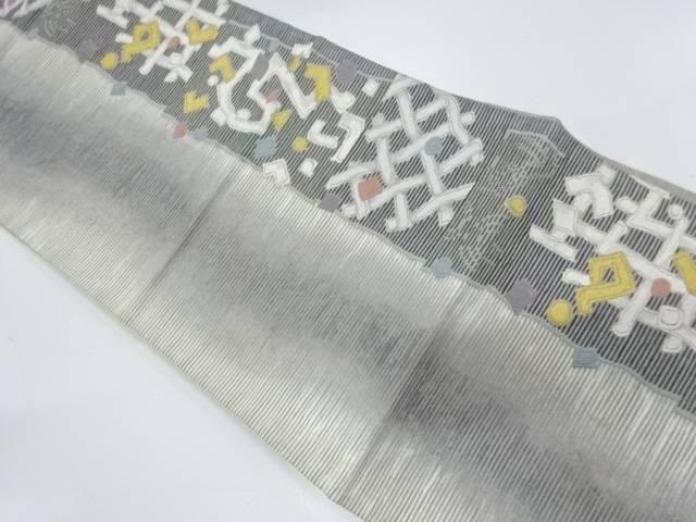 手もみ箔抽象模様織出し袋帯【リサイクル】【中古】【着】 宗sou