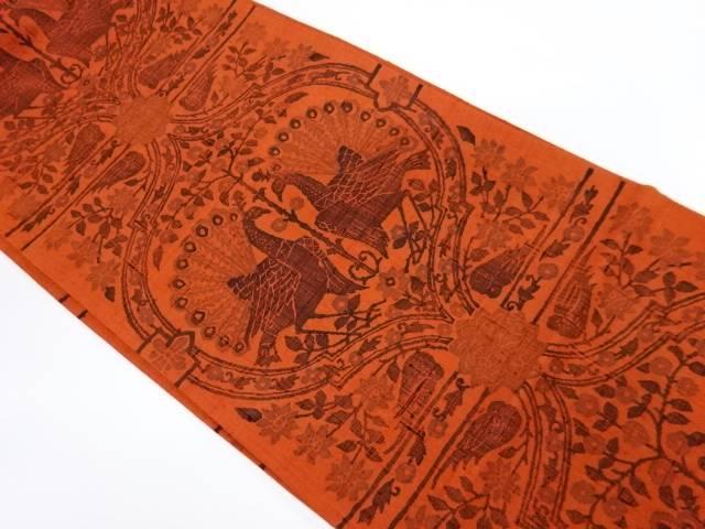 手織り紬向かい孔雀模様袋帯【リサイクル】【中古】【着】 宗sou