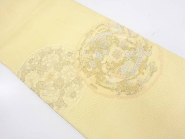 紗 花鳥模様織出し袋帯【リサイクル】【中古】【着】 宗sou