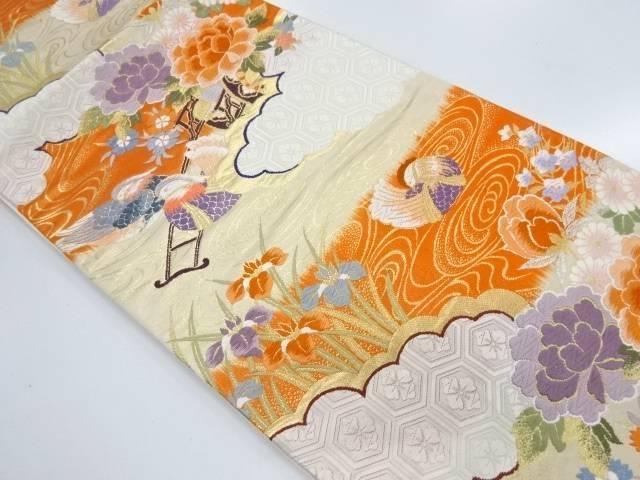 花車に鴛鴦模様織出し袋帯【リサイクル】【中古】【着】 宗sou